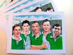 famous five ,hibernian fc legends print
